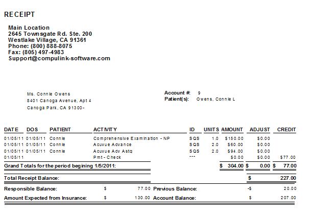 receipt form